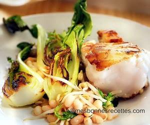 Lotte aux haricots blancs chou chinois et soja