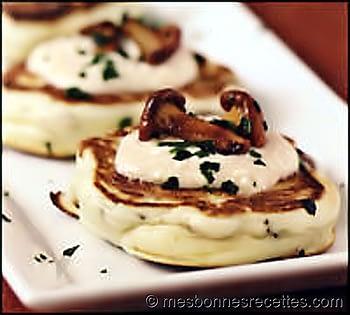 Blinis aux champignons crème feta