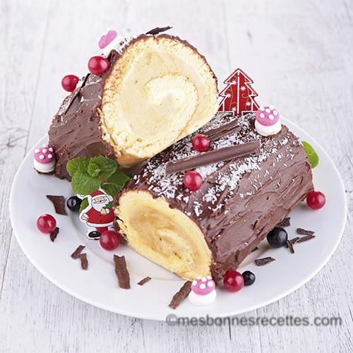 Bûche de noël chocolat vanille