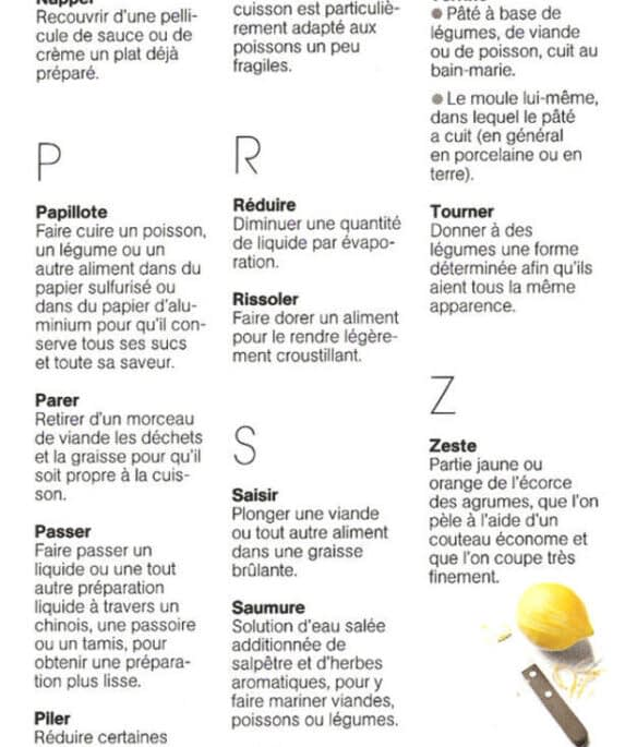 Lexique du langage de la cuisine de N - Z