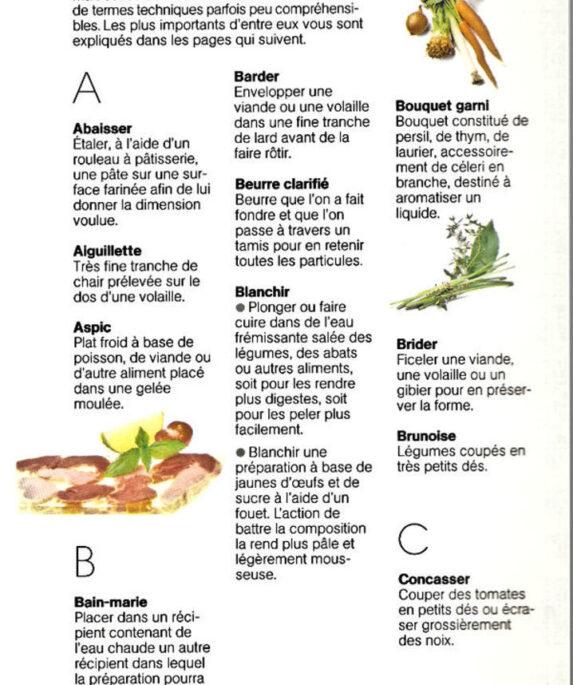 Lexique du langage de la cuisine de A - C