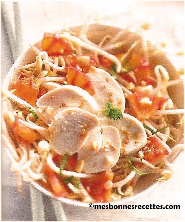 Salade de soja au poulet et orange sanguine